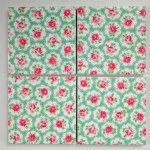 4 Ceramic Coasters in Cath Kidston Mini Provence Rose Green